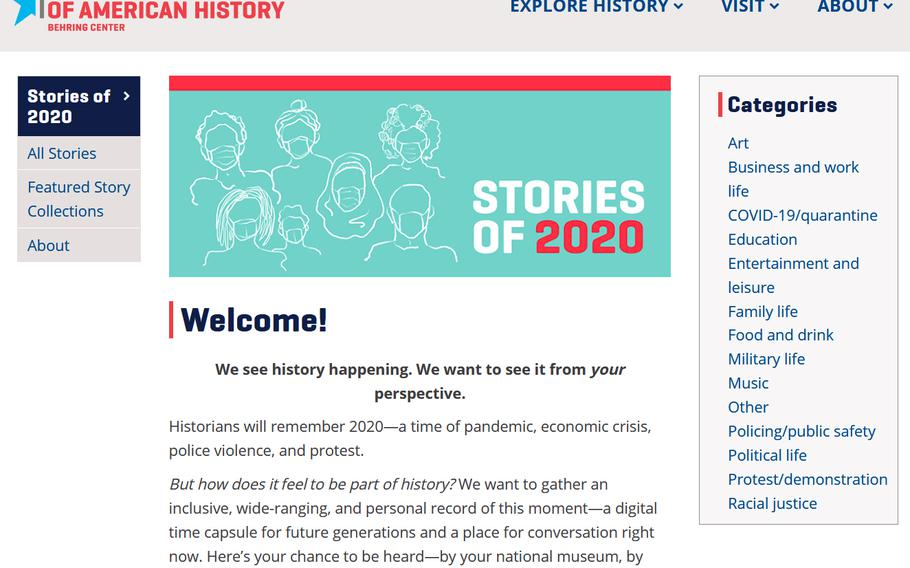 The Smithsonian's Stories of 2020 web page.