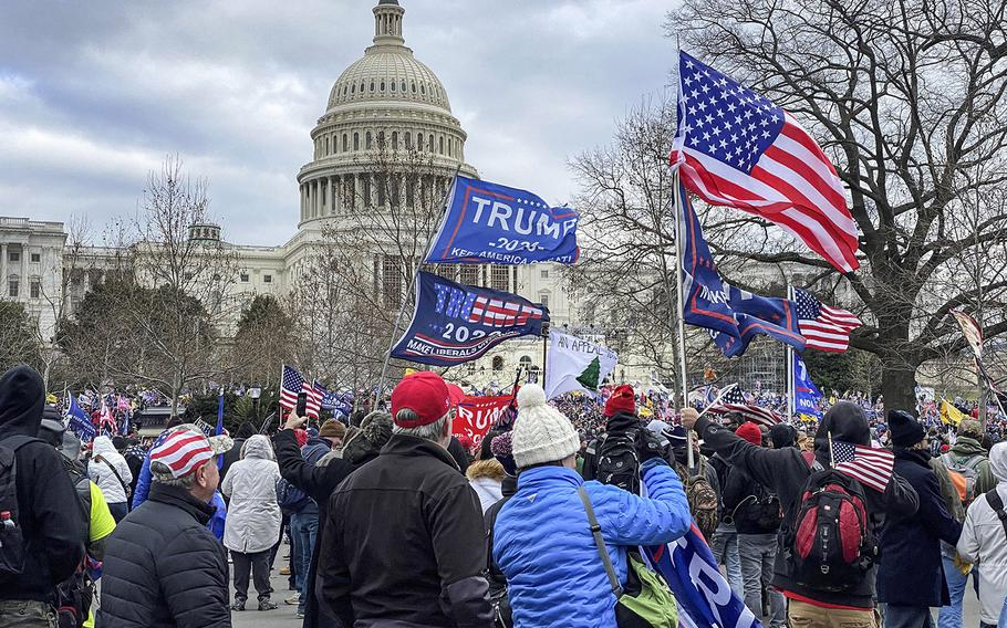 Supporters of President Donald Trump move toward the U.S. Capitol on Jan. 6, 2021.