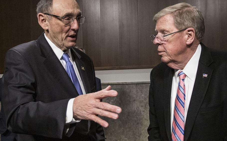 """The Johnny Isakson and David P. Roe M.D. Veterans Health Care and Benefits Improvement Act of 2020"""" honors former Sen. Johnny Isakson, R-Ga., right, and just-retired Rep. Phil Roe, Tenn., left, seen here before a 2018 hearing."""