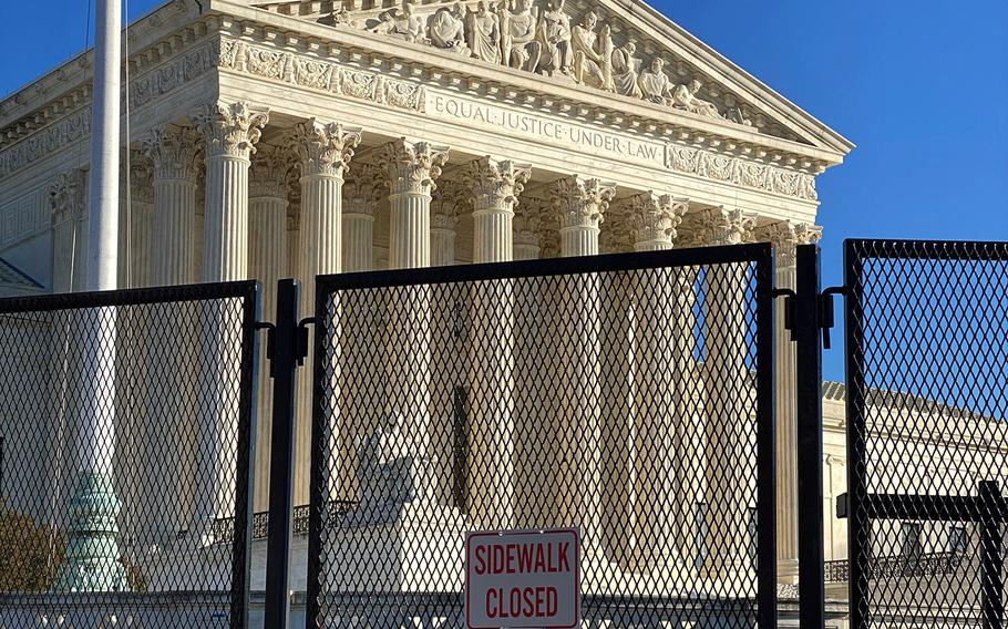 A security fence at the U.S. Supreme Court on Jan. 12, 2021.