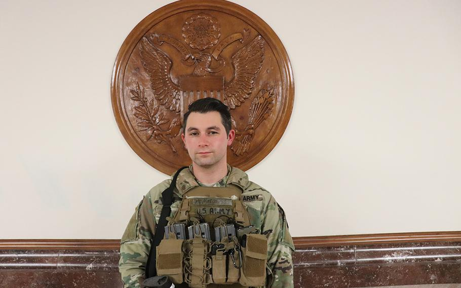 Spc. Ryan Marani, an infantryman with the Maryland National Guard, deployed to Washington following the riots at the U.S. Capitol on Jan. 6, 2021. The Defense Department has authorized up to 25,000 troops to secure the inauguration of President-elect Joe Biden.