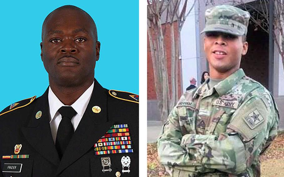 Sgt. 1st Class Dejaun K. Frazier, left, and Spc. Kenmaj D. Graham died in traffic accidents at Fort Bliss, Texas, over the weekend.