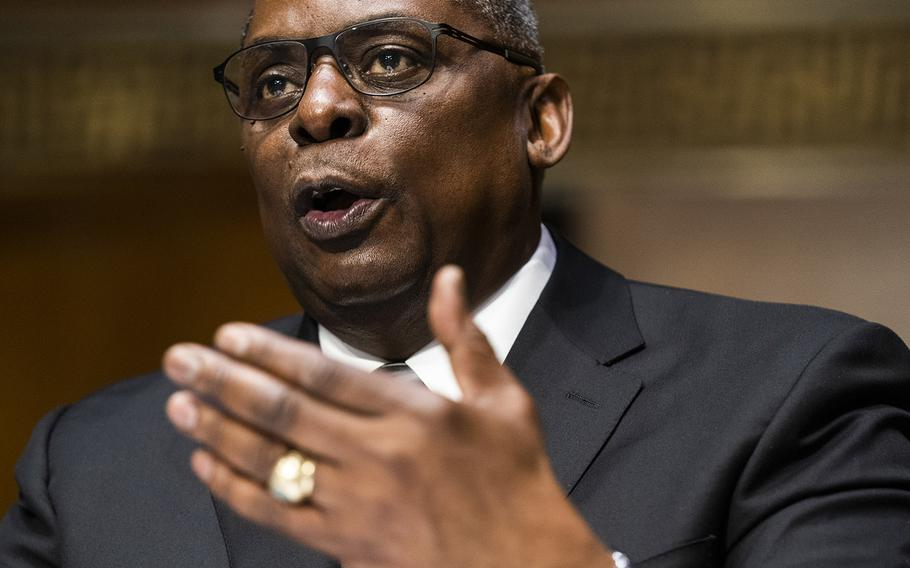 Secretary of Defense nominee Lloyd Austin speaks during his conformation hearing before the Senate Armed Services Committee on Capitol Hill, Tuesday, Jan. 19, 2021.