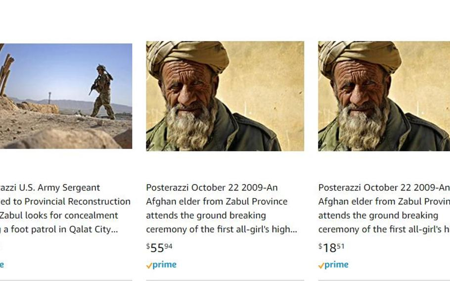 A screenshot from Amazon.com shows several posters for sale on Tuesday, Jan. 19, 2021, including one of an Afghan elder that can be found as a free download from the official U.S. military photo website DVIDShub.net.