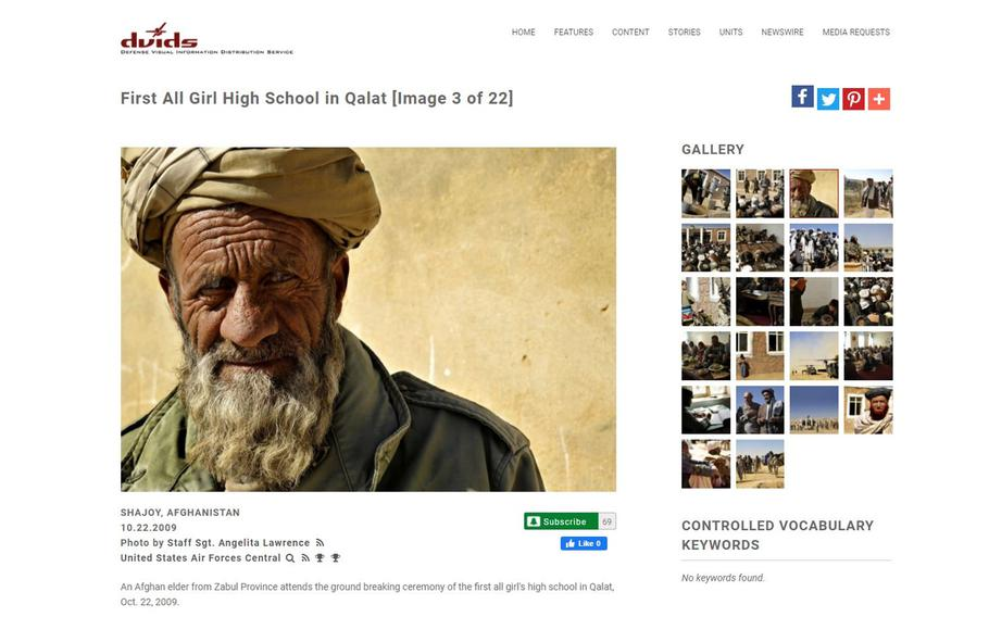 A screenshot from DVIDShub.net, the U.S. military's photo website, taken on Tuesday, Jan. 19, 2021, showing a photo of an Afghan elder that has been made available for sale on Amazon.com, and other sites that market military photos for sale as posters and prints.