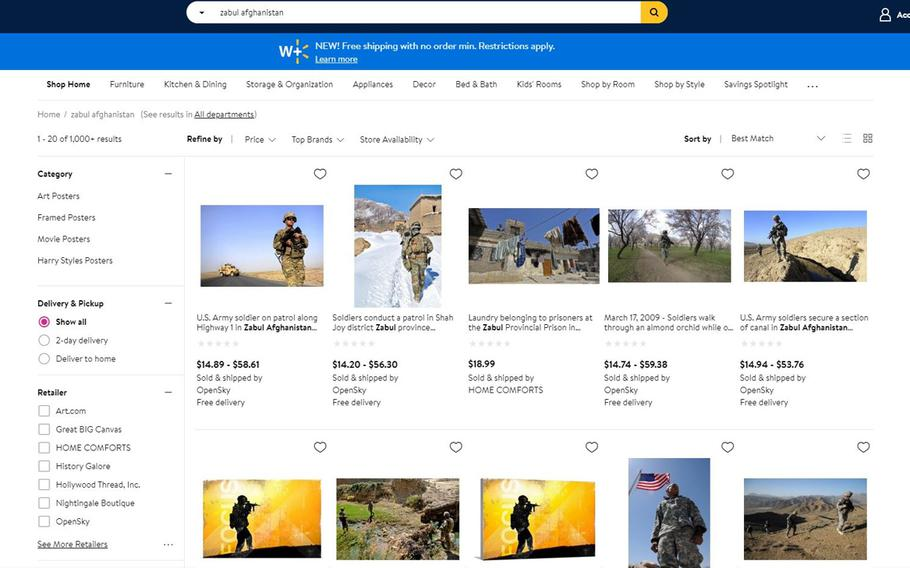 A screenshot of Walmart.com showing various military photos for sale as posters on Tuesday, Jan. 19, 2021.