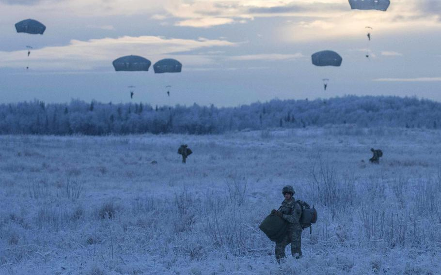 Paratroopers from the 25th Infantry Division exit a U.S. Army CH-47 Chinook at Joint Base Elmendorf-Richardson, Alaska in 2015.  The Army wants to set up a new Arctic-focused brigade, Chief of Staff Gen. James C. McConville  said this week.