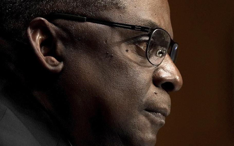 Secretary of Defense nominee Lloyd Austin speaks during his confirmation hearing before the Senate Armed Services Committee on Capitol Hill, Tuesday, Jan. 19, 2021.