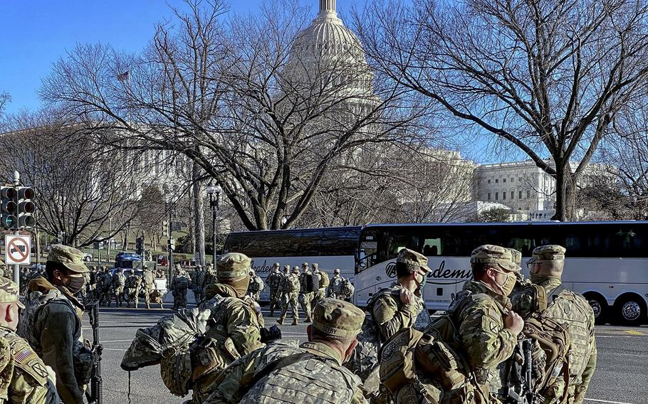 National Guard troops near the U.S. Capitol on Jan. 21, 2021.