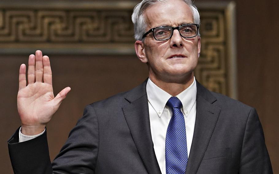 Secretary of Veterans Affairs nominee Denis McDonough is sworn in during his confirmation hearing before the Senate Committee on Veterans' Affairs, Wednesday, Jan. 27, 2021, in Washington.