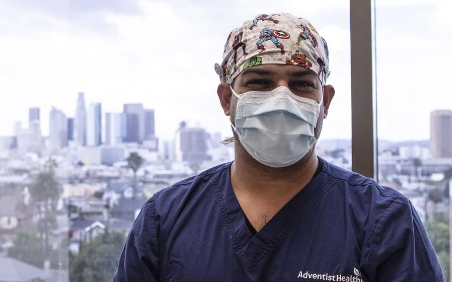 Wesley Willard, a former Army captain, serves as the manager of nurses for the intensive care unit at Adventist Health White Memorial Hospital in Los Angeles. Since Thanksgiving, he said his unit has been overwhelmed with coronavirus patients, though a deployment of military medical providers this month has brought some reprieve to his staff.