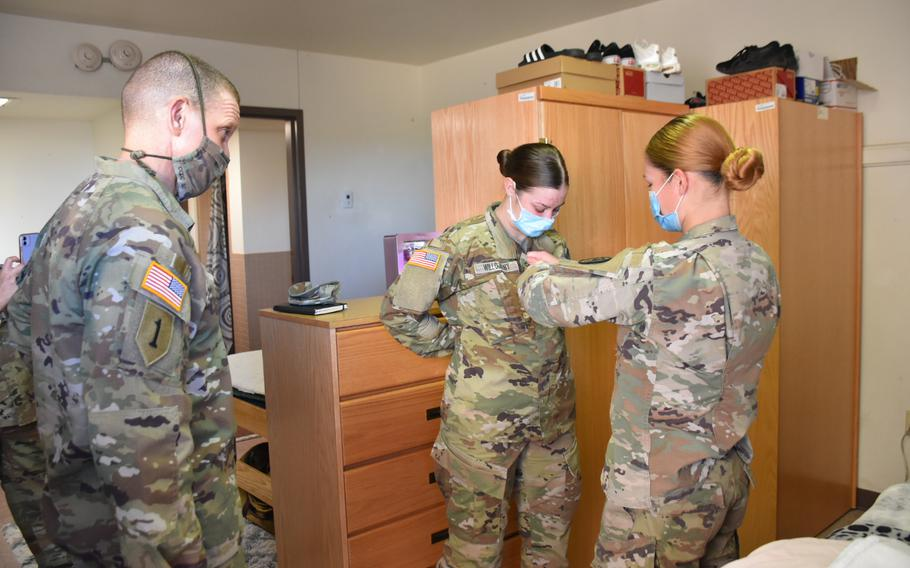 Sgt. Maj. of the Army Michael Grinston promoted two soldiers on the spot this month during a tour of the barracks at Fort Hood, Texas. He believed they had put in extra effort to make their barracks room a home and were also enthusiastic about their work in the infantry.