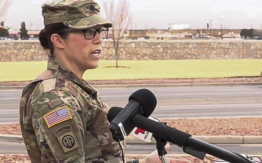 A video screen grab shows Lt. Col. Allie Payne, a Fort Bliss spokesperson, on Friday Jan. 29, 2021, giving an update on the 11 soldiers from the base who were injured after ingesting an unknown substance during a field training exercise.