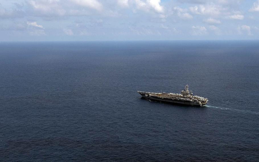 The aircraft carrier USS Nimitz takes part in the annual Malabar exercise in the Indian Ocean, Nov. 20, 2020.