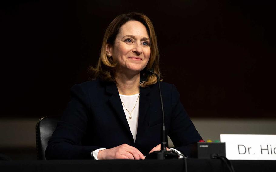 Deputy Secretary of Defense nominee Kathleen Hicks reacts to the start of her Senate confirmation hearing in Washington, D.C. Feb. 2, 2021.