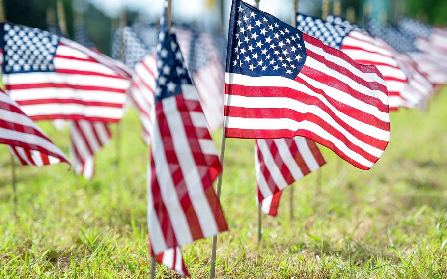 American flags stand in the ground Sept. 1, 2020, outside of the 177th Fighter Wing, Egg Harbor Township, N.J., representative of veteran suicides. A recent Rand Corp. report said that disparities along racial and ethnic lines in regard to suicide attempts warrant Defense Department attention.