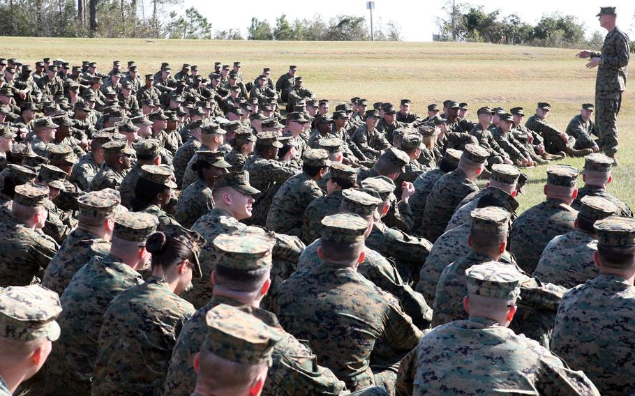 Col. Mark R. Hollahan, the 2nd Marine Logistics Group commanding officer, talks to sergeants from the 2nd MLG during a brief aboard Camp Lejeune, N.C., Feb. 15, 2012.