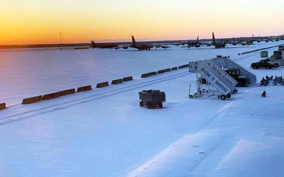 Barksdale Air Force Base near Bossier City, La., received a mixture of snow, sleet and freezing rain that closed the base Tuesday. It was one of at least a dozen military bases to close Tuesday as a winter storm swept across portions of the southern and eastern United States.