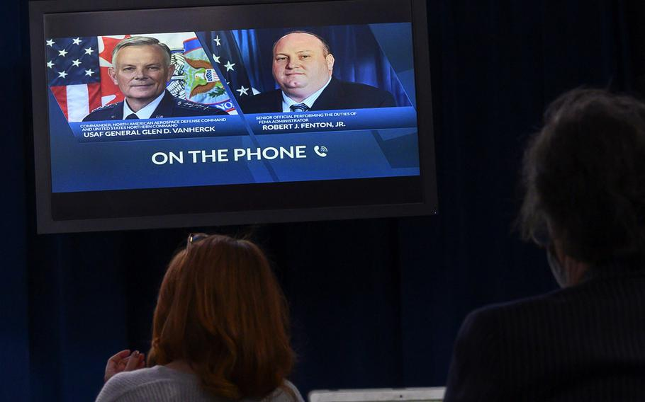 U.S. Northern Command Commander Gen. Glen VanHerck and Acting FEMA Administrator Robert Fenton conduct a press briefing via phone on the national COVID response, and support at community vaccination centers, as seen at the Pentagon on Feb. 16, 2021.