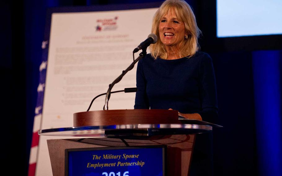 Dr. Jill Biden, the wife of then-Vice President Joe Biden, speaks at a Department of Defense Military Spouse Employment Partnership event in Washington, Oct. 17, 2016.  On Wednesday, First Lady Jill Biden held a listening session Wednesday as part of her plan to recommit to military families.