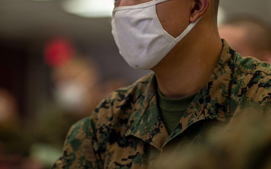Marine Pfc. Josh Lee, a student with Alpha Company, Infantry Training Battalion, School of Infantry-West, listens to a brief about the new infantry course on Marine Corps Base Camp Pendleton, Calif., Jan. 25, 2021.