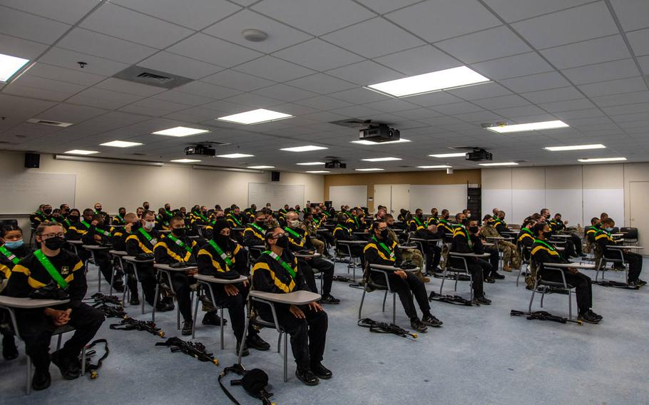 Trainees with 2nd Batallion, 60th Infantry Regiment participate in mindfulness practice as part of a pilot program, Dec. 9, 2020.