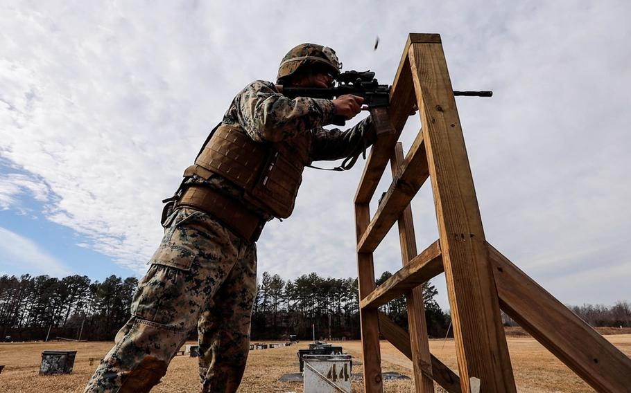 Marines with Weapons Training Battalion conduct the Annual Rifle Qualification train-the-trainer course on Marine Corps Base Quantico, Va., Feb. 17, 2021. The ARQ is replacing Annual Rifle Training and aims to create a more operationally realistic training environment.