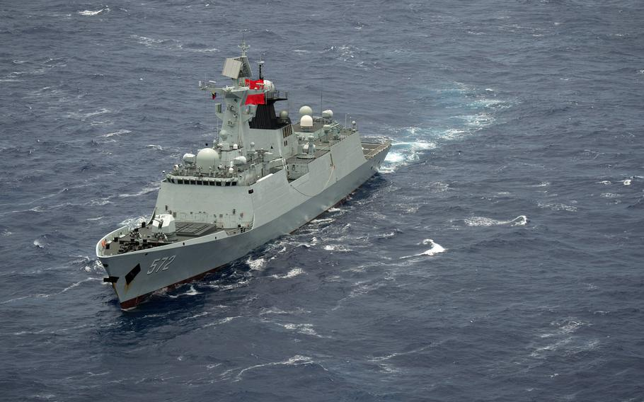The Chinese multi-role frigate Hengshui steams in close formation with ships representing 13 nations during the Rim of the Pacific exercise in July 2016. China spent the second most on defense worldwide in 2020, after the U.S., according to an International Institute for Strategic Studies report released Feb. 25, 2021.