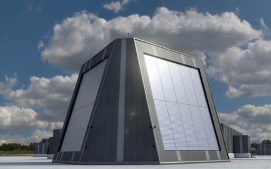 An artist's rendering of the Long Range Discrimination Radar now being tested at Clear Air Force Station, Alaska.