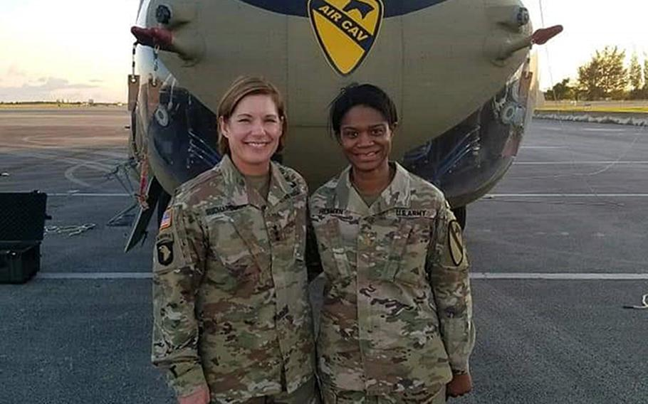 Maj. Jamie Hickman, seen here with Lt. Gen. Laura Richardson, says there are signs of progress, but that the military still has a long way to go to deal with issues of race.
