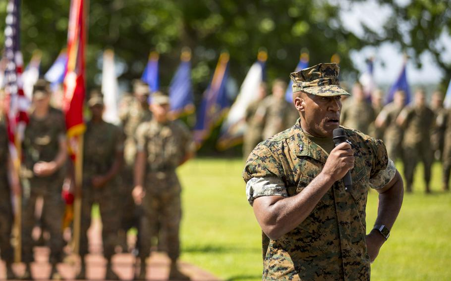 Marine Corps Maj. Gen. Michael E. Langley speaks during the 2nd Marine Expeditionary Brigade relinquishment of command ceremony on Camp Lejeune, N.C., May 23, 2018. Langley now commands U.S. Marine Forces Europe and Africa.