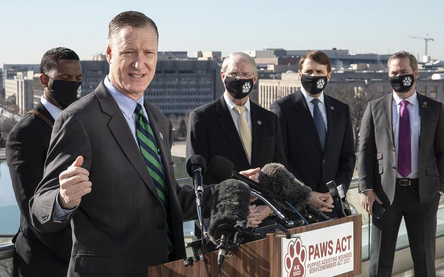 Rep. Steve Stivers, R-Ohio, speaks at a Capitol Hill news conference to promote House bill, H.R. 1022, the Puppies Assisting Wounded Servicemembers (PAWS) Act, March 3, 2021. Behind him are, left to right, veteran David Crenshaw, Rep. John Rutherford, R-Fla., Rep. Chris Pappas, D-N.H. and Rep. Michael Waltz, R-Fla.