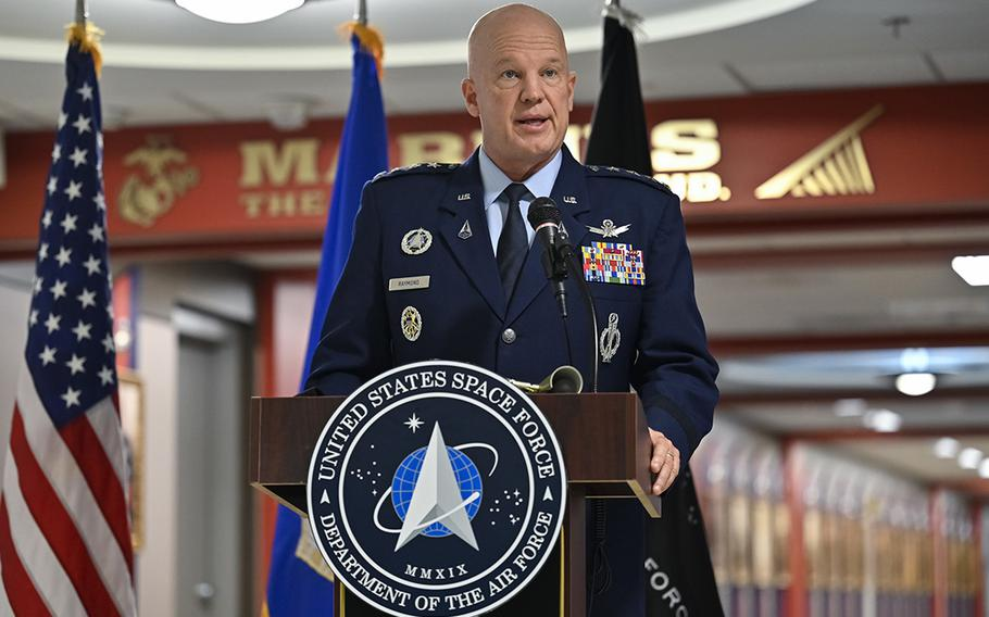 Chief of Space Operations Gen. John W. Raymond delivers remarks during a ceremony unveiling the newly decorated Space Force hallway at the Pentagon, Arlington, Va., on Dec. 18, 2020. The ceremony celebrated Space Force's first birthday, which officially occurs Dec. 20.