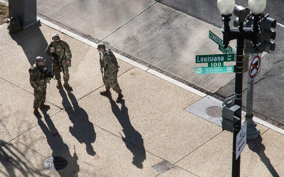 National Guard soldiers on Constitution Ave. in Washington, D.C., Wednesday morning, March 3, 2021.