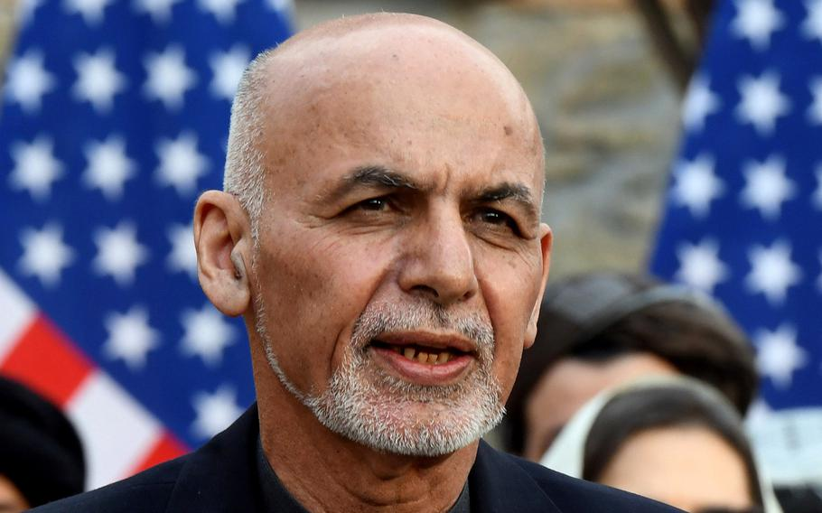 Afghan President Ashraf Ghani speaks at a ceremony in Kabul on Saturday, Feb. 29, 2020. Ghani, scheduled to visit Washington on Friday to meet with President Joe Biden amid growing concerns in Afghanistan about the withdrawal of U.S. forces, has endorsed the sudden call to arms by former ethnic rival groups and shaken up his top security team, in hopes of stemming the Taliban onslaught and calming public panic.