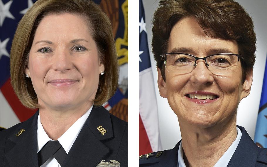 U.S. Army Lt. Gen. Laura J. Richardson, left, and U.S. Air Force Gen. Jacqueline D. Van Ovost.