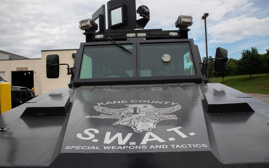 A Kane County sheriff's office armored vehicle, stored in St. Charles, Illinois on July 21, 2020.