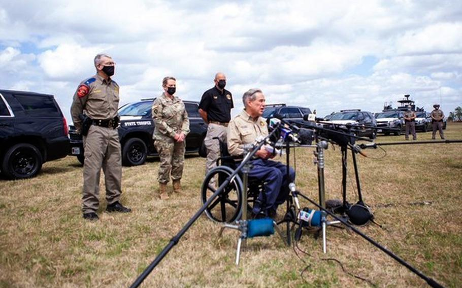 Texas Gov. Greg Abbott announced Tuesday that he will deploy about 500 members of the Texas National Guard to the state's border with Mexico to control an increase in apprehensions of people crossing the border illegally.