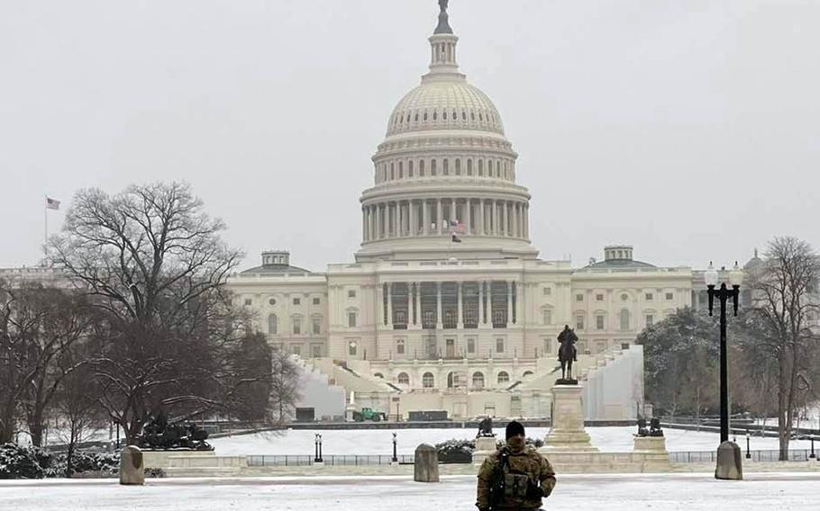 A National Guard member stands watch near the U.S. Capitol in Washington, D.C., Feb. 2, 2021.
