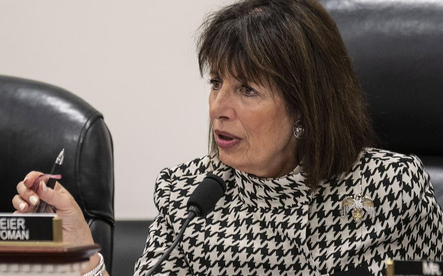 """Rep. Jackie Speier, D-Calif., is shown at a Feb. 5, 2020 hearing on Capitol Hill. """"We have heard and seen firsthand horror stories in these houses, from mold, to water leaks to incorrect lead abatement that has directly affected the health and safety of these families,"""" said Speier, who is the chairwoman of the House Armed Services Committee's subpanel on military personnel."""