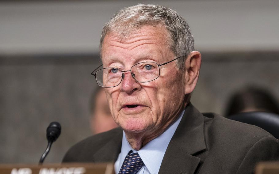 Sen. Jim Inhofe, R-Okla, the former chairman of the Senate Armed Services Committee Chairman attends a hearing on Capitol Hill in Washington on March 26, 2019. Congressional lawmakers have long studied how to expand military service eligibility for Americans who are between 17 and 24 years old,  Inhofe said during a hearing on Thursday, March 11, 2021.