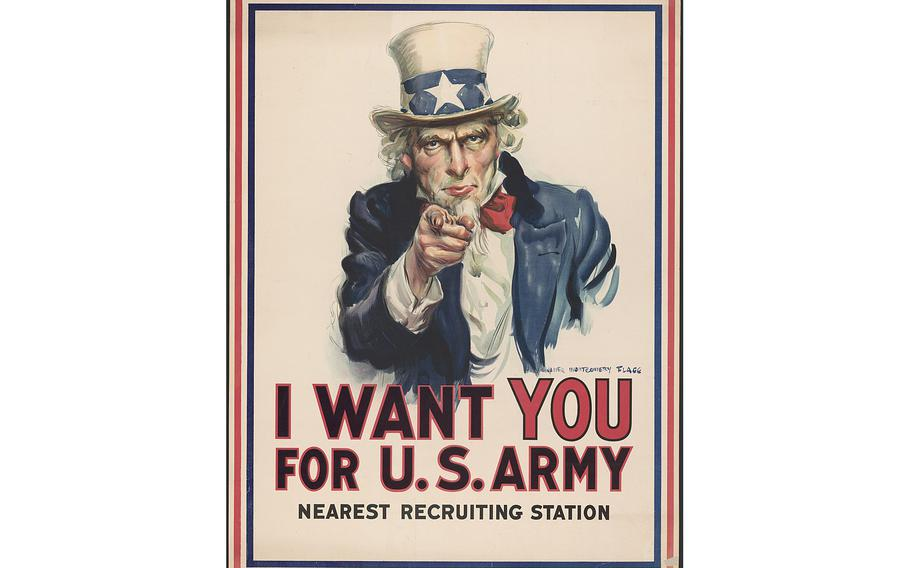 """A War poster with the famous phrase """"I want you for U.S. Army"""" shows Uncle Sam pointing his finger at the viewer in order to recruit soldiers for the American Army during World War I."""