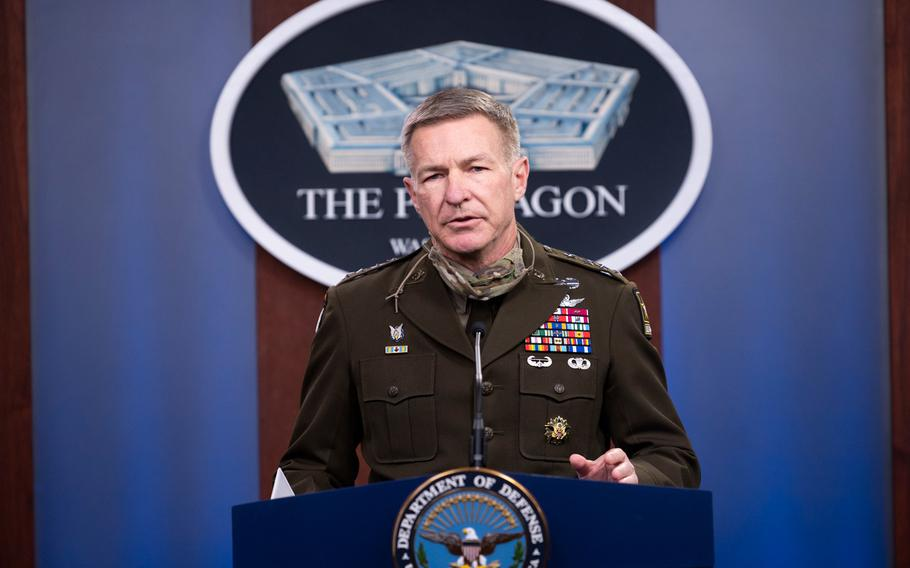 Army Chief of Staff Gen. James C. McConville briefs the media on the Fort Hood Independent Review, the Pentagon, Washington, D.C., Dec. 8, 2020.