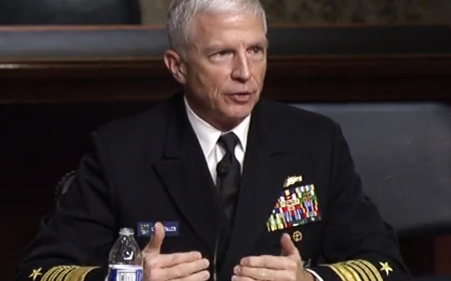 In a screen capture from a Senate Armed Services Committee video, SOUTHCOM commander Adm. Craig Faller testifies at a hearing on March 16, 2021.