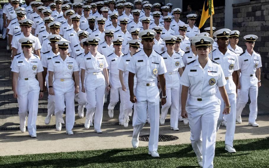 U.S. Naval Academy midshipmen march into Navy–Marine Corps Memorial Stadium in Annapolis, Md., before a football game in October, 2019.