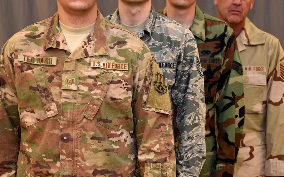 On April 1, 2021, the Operational Camouflage Pattern will become the mandatory utility uniform of the Air Force. First introduced in 2018, it replaces the Airman Battle Uniform, which had been the standard uniform since 2011. It replaced both the woodland camouflage Battle Dress Uniform and Desert Camouflage Uniform.