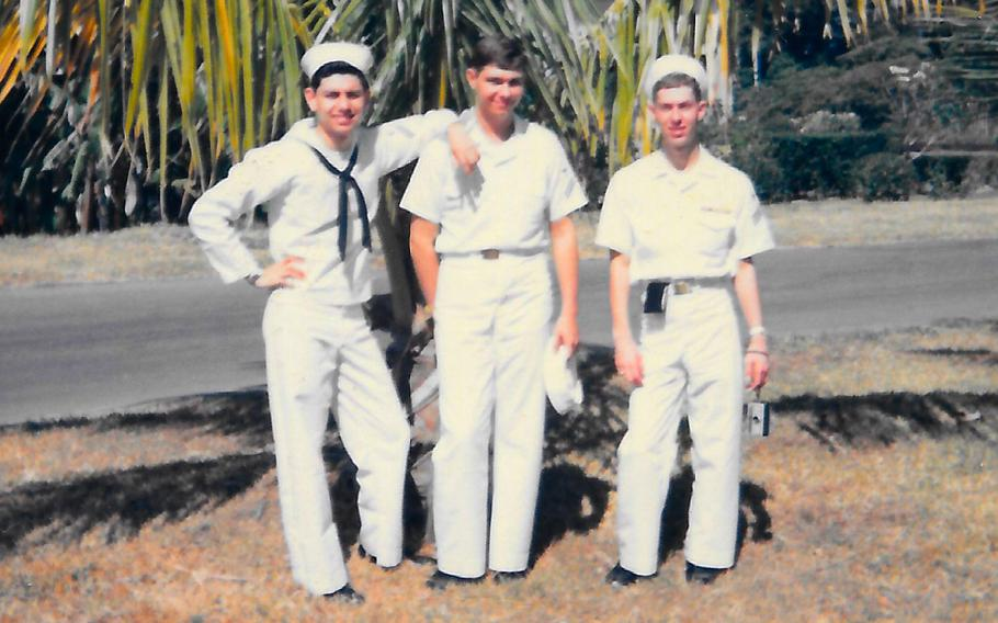 Dave Lara, left, with fellow sailors in Subic Bay, Philippines, in 1966.