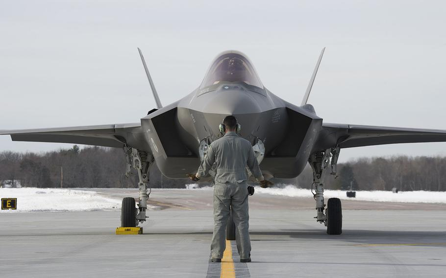 A crew chief assigned to the 158th Maintenance Group prepares an F-35A Lightning II for departure from the Vermont Air National Guard Base, South Burlington, Vt., Jan. 23, 2020. House Democrats vowed Thursday, April 22, 2021, to fight efforts to hasten the production of F-35 Joint Strike Fighters in next year's defense budget.