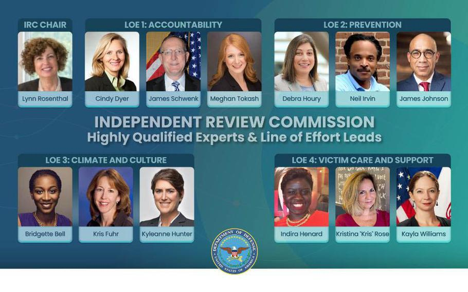 New members of the Pentagon's Independent Review Commission on Sexual Assault in the Military are shown in their assigned lines of effort. Photo courtesy of the U.S. Department of Defense