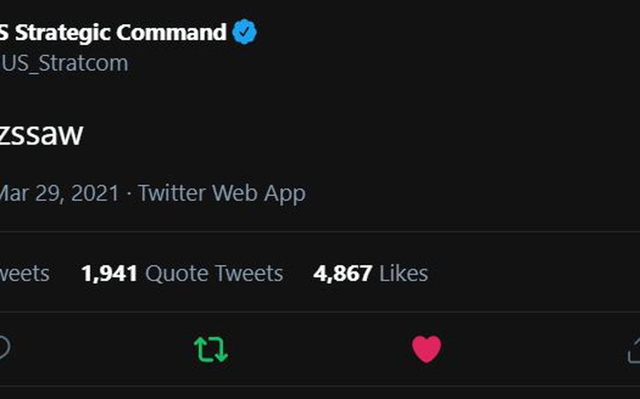U.S. Strategic Command posted a garbled tweet Monday.